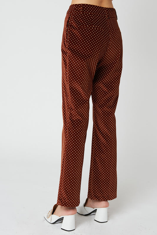 Velvet pants with polka dot print