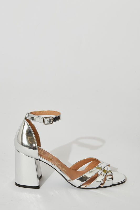 Silver leather sandals with ankle strap