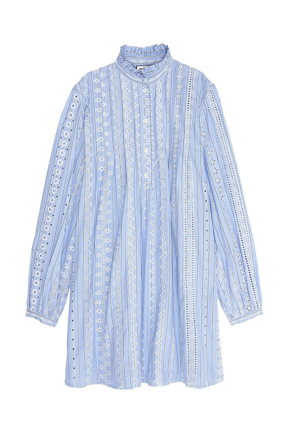 Embroidered striped poplin dress