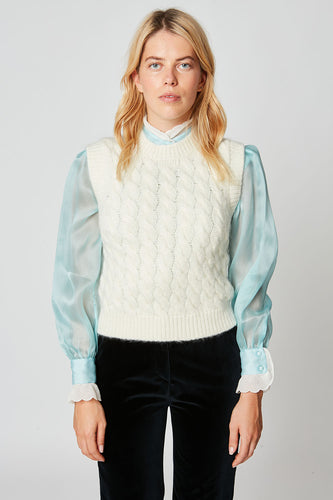 Cable-knit mohair sweater vest