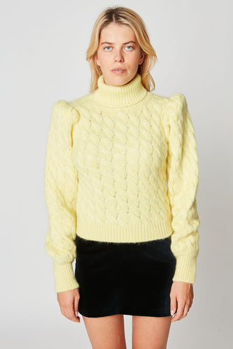 Cable-knit mohair roll neck sweater