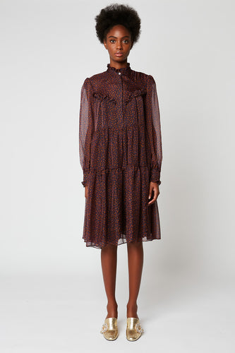 Long-sleeved printed silk chiffon dress