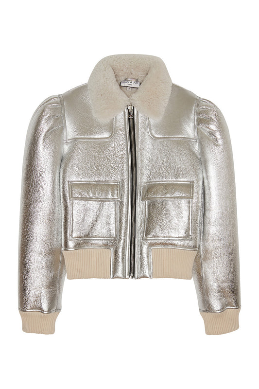 Cropped silver wool and leather zipped jacket