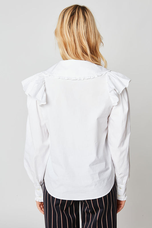 Poplin blouse with claudine collar