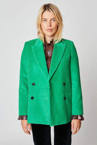 Double-breasted corduroy suit jacket