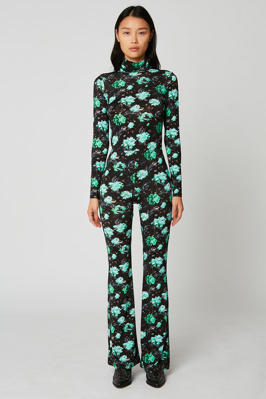 Flared printed jersey trousers x Vanessa Stockard