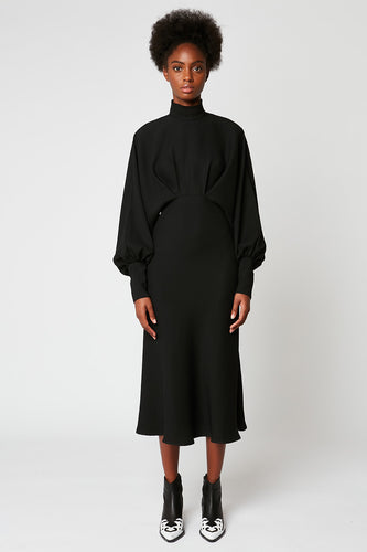Long crepe funnel-neck dress with batwing sleeves