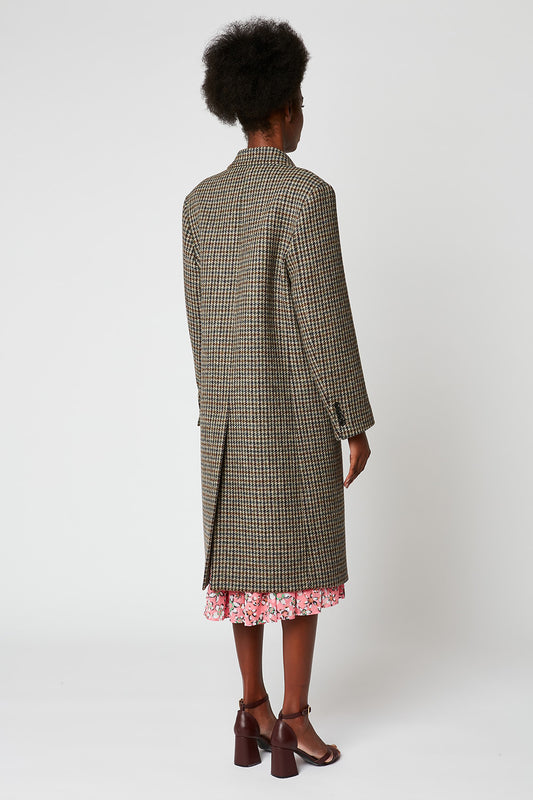 Manteau long en tweed pied de poule