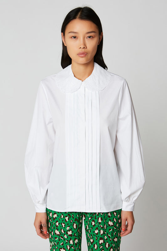 Poplin cotton blouse with embroidered collar and blind tuck detail