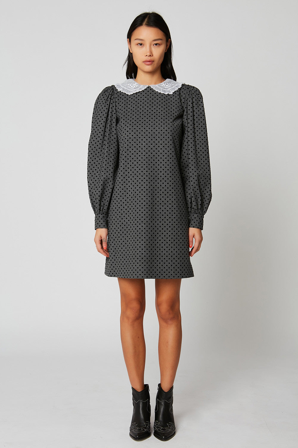 Polka dot shift dress with Swiss embroidery detail