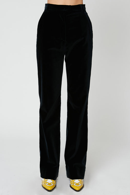 Flared high-waist cotton palatine velvet trousers