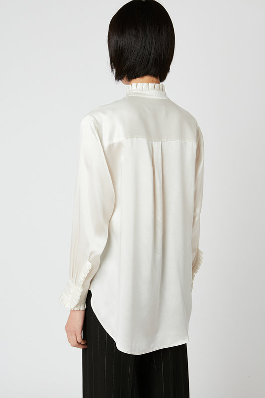 Silk satin ruched-neck blouse