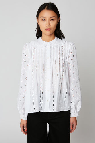 Oversized broderie anglaise and cotton blouse with a Peter Pan collar