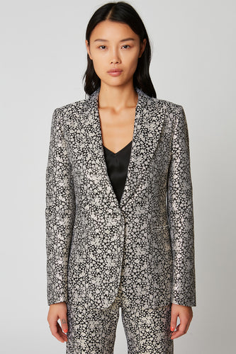 Lurex jacquard tailored fitted jacket