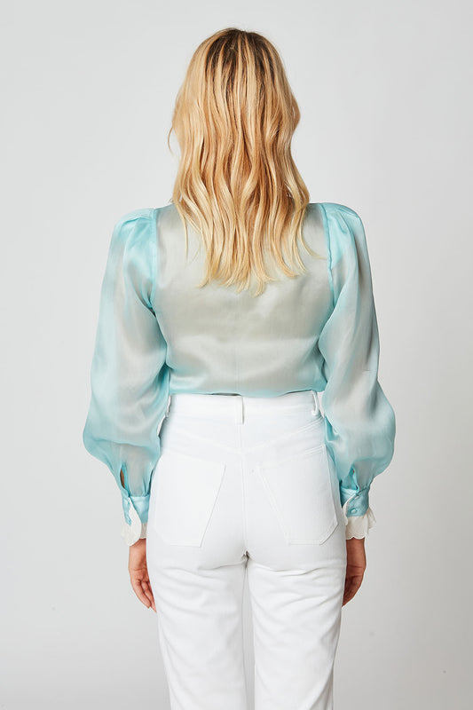 Silk organza collar blouse with festoon