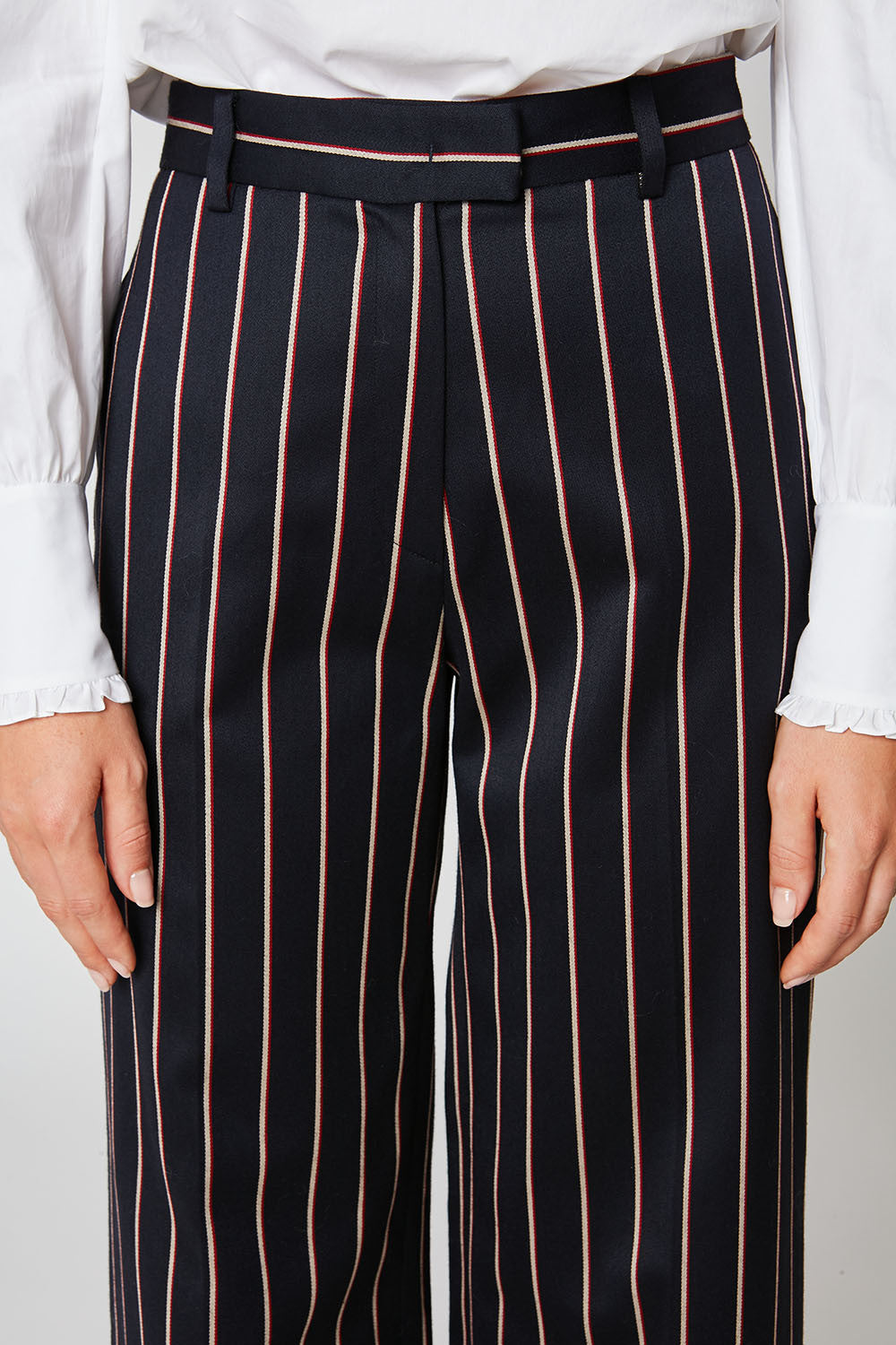 Tricolour striped cotton and wool jacquard wide-leg trousers
