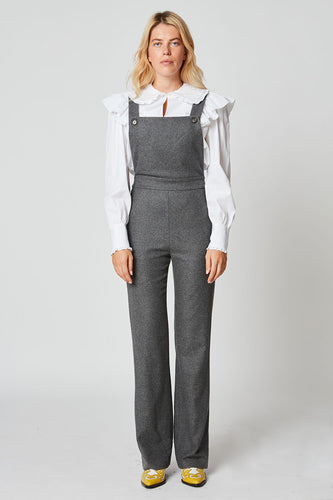Straight-leg flannel dungarees