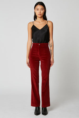 High-waist flared corduroy trousers