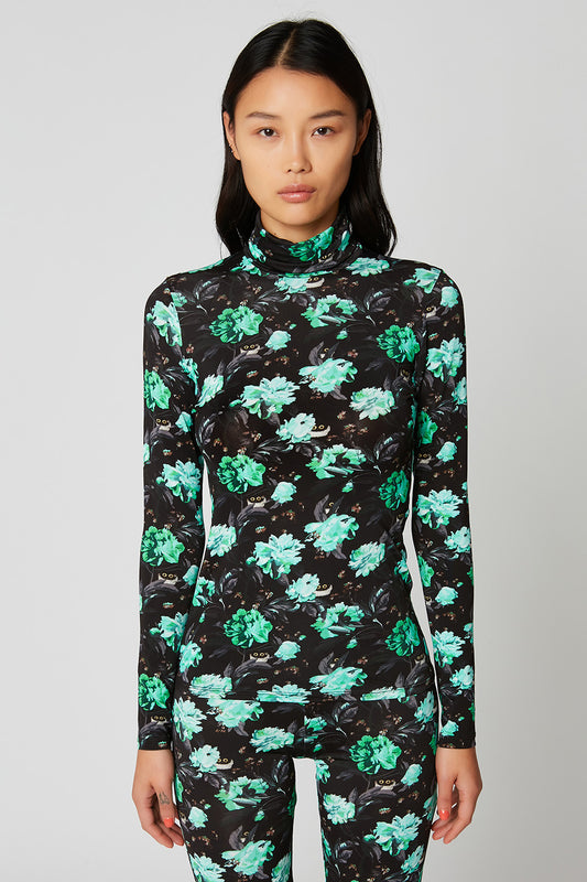 Printed roll neck viscose jersey jumper x Vanessa Stockard