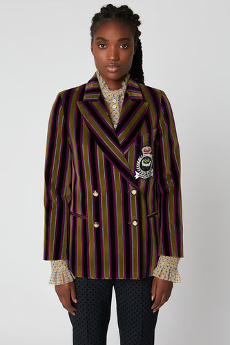 Tailored double-breasted jacket in striped cotton velvet with patch detail x Vanessa Stockard