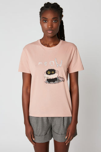 Printed cotton jersey T-shirt with beaded embroidery x Vanessa Stockard