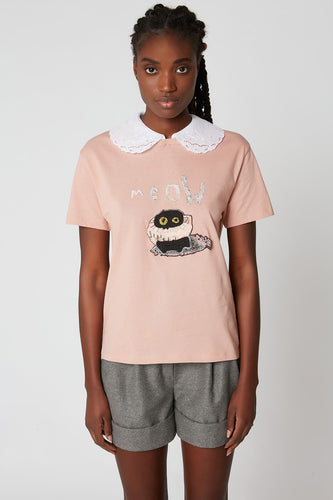 Printed cotton jersey T-shirt with beaded embroidery with removable embroidered collar x Vanessa Stockard