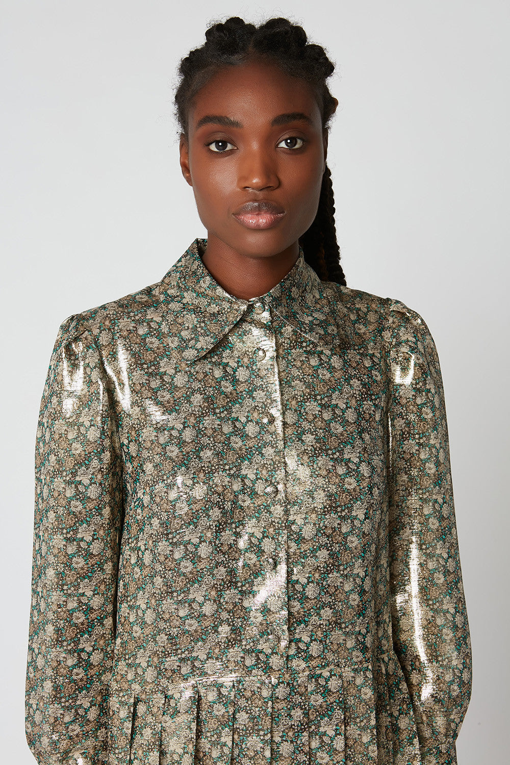 Printed lurex voile shirt dress