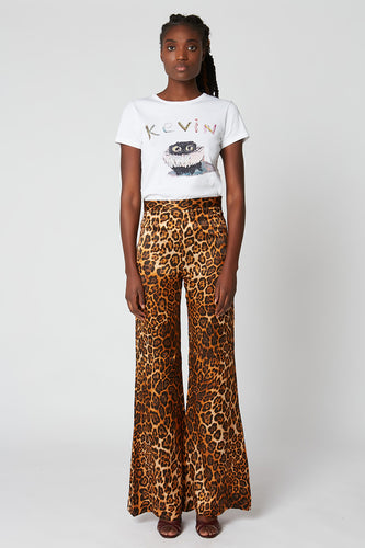Printed silk satin flared trousers