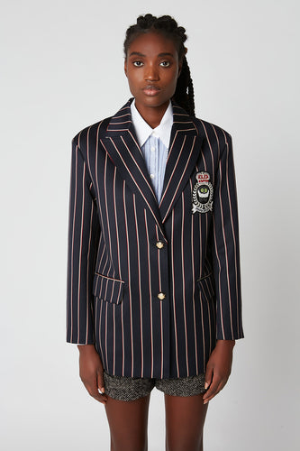 Oversized striped wool and cotton jacquard tailored jacket x Vanessa Stockard