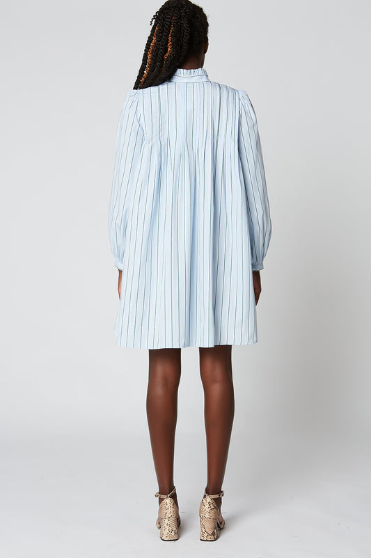 Striped poplin short dress