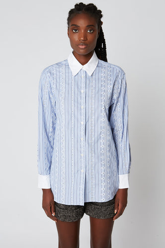 Striped poplin oversize shirt