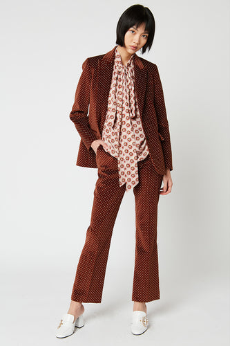 Smooth velvet fitted jacket with polka dot print