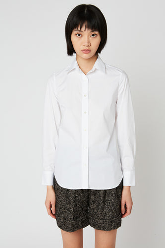 Fitted stretch plain cotton poplin shirt