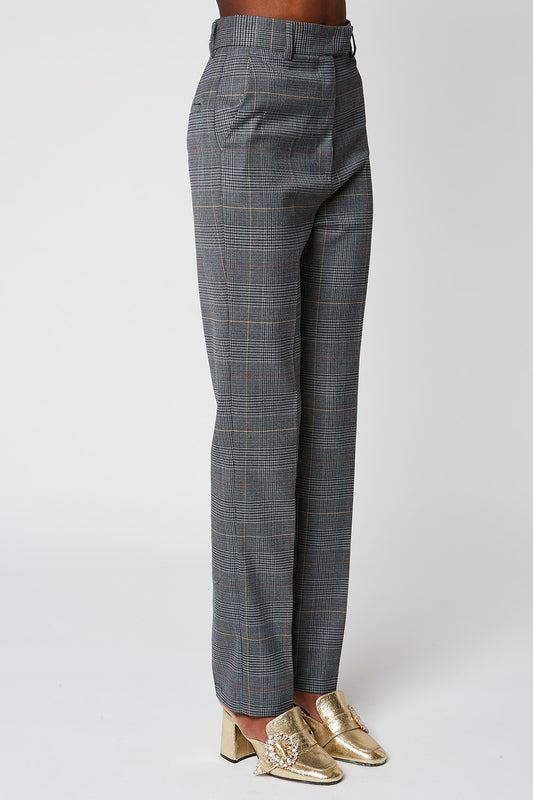 Prince of Wales high waist straight trousers