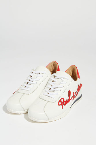 Paire de baskets blanches et logo rouge Paul & Joe en cuir