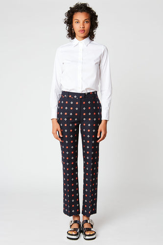 Flower print stretch jacquard straight-leg trousers