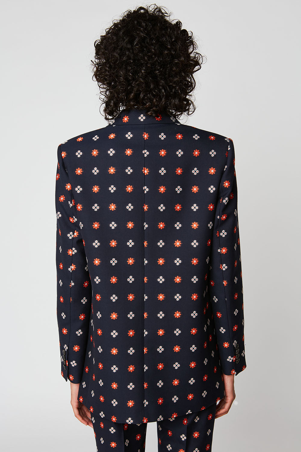 Flower embroidered stretch jacquard jacket
