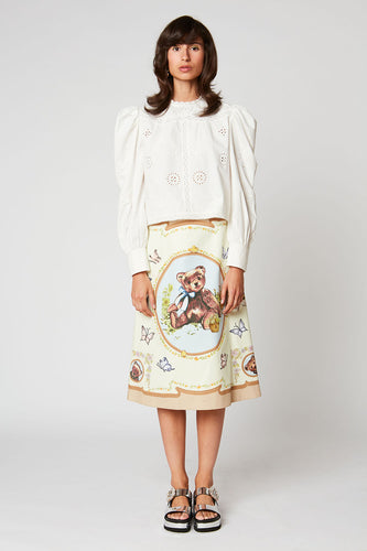 A-line skirt in printed poplin
