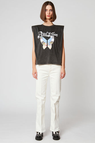 Sleeveless butterfly patchwork t-shirt