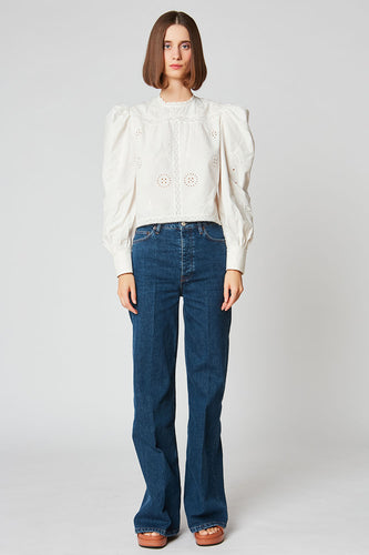Short blouse with puffed sleeves in cotton