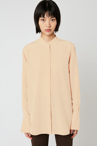 Loose-fitting shirt with mao collar