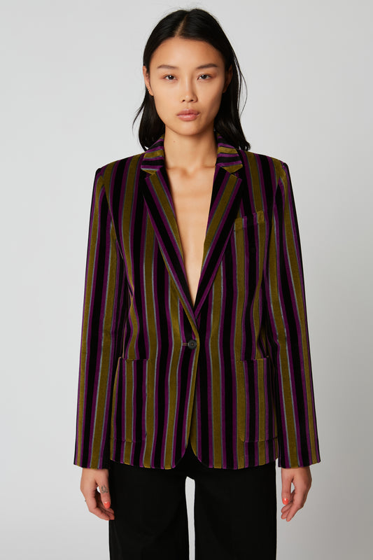 Short fitted striped velvet jacket