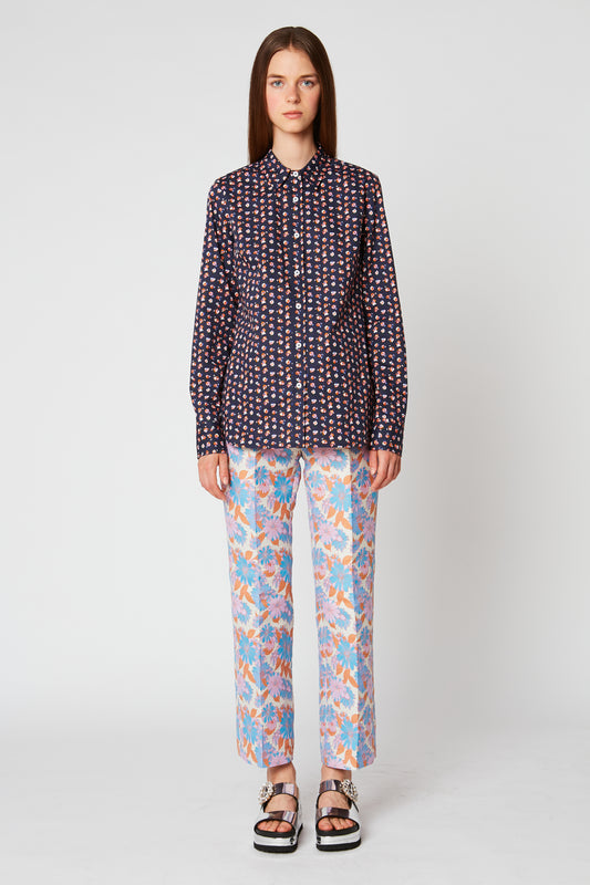 Fitted floral poplin shirt