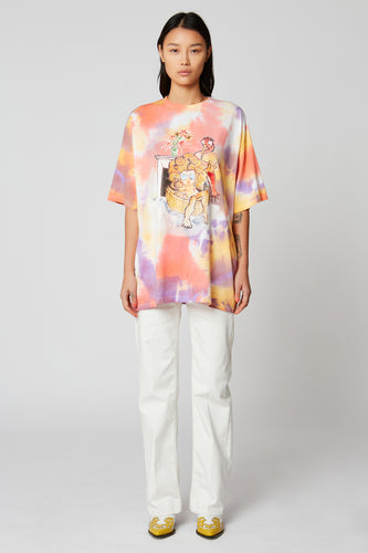 T-shirt oversize tie and dye orange imprimé