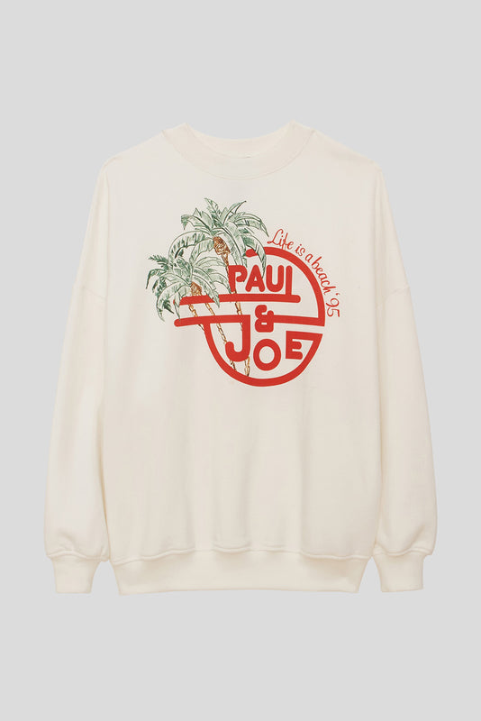 Sweat-shirt en molleton de jersey logo imprimé Paul & Joe et palmiers