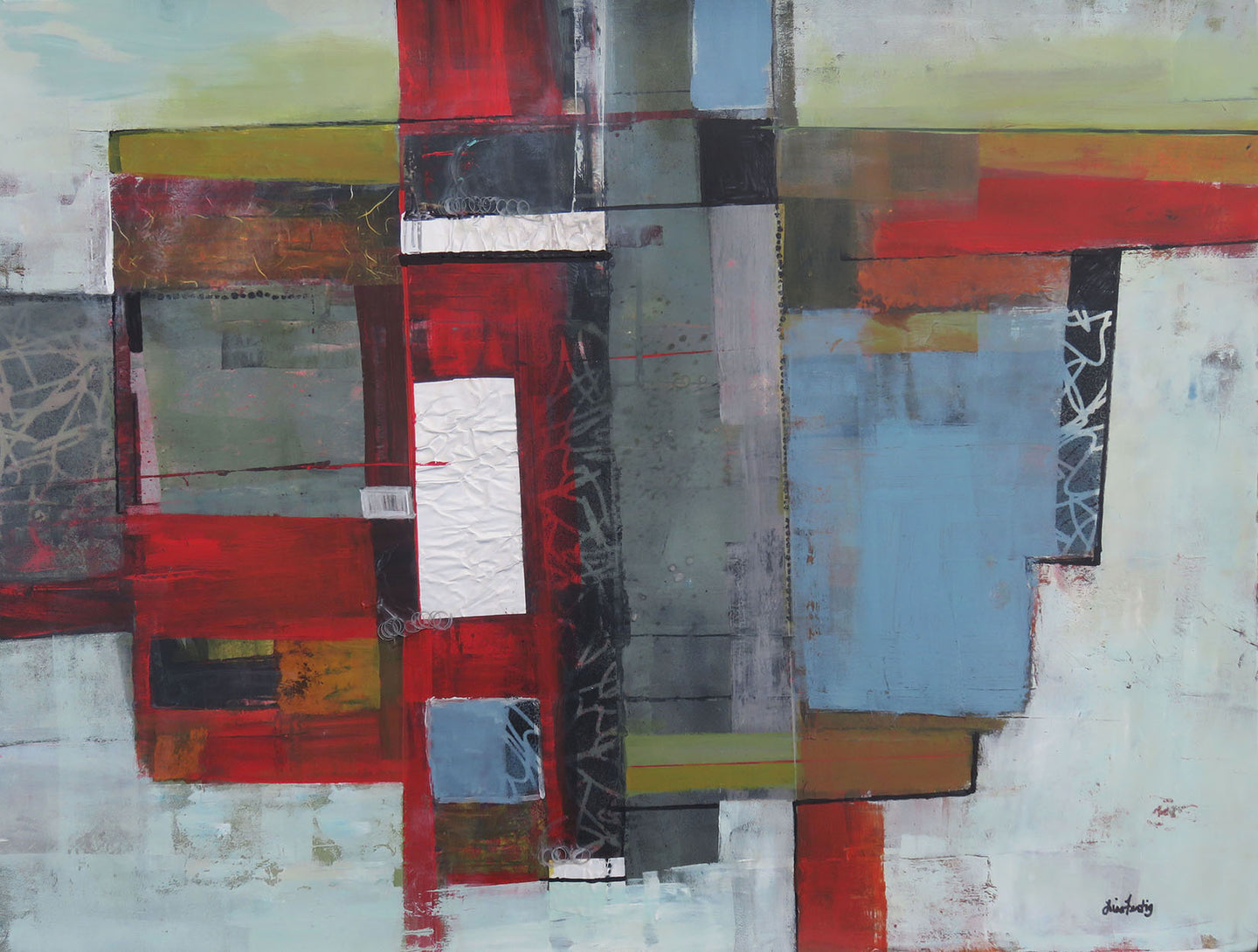 Red/Gray Contemporary Artwork II