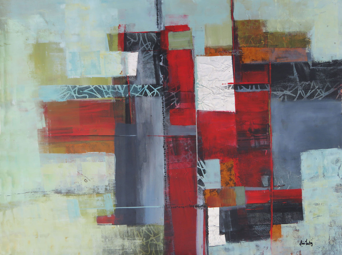 Red/Gray Contemporary Artwork I