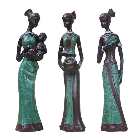 3 Pcs Gift Table Handmade Decor African Lady Statue Home Display Exotic Sculptures Resin Craft Figurine Exquisite