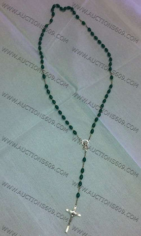 Green religion Rosary - Rosario relgioso color verde No.1
