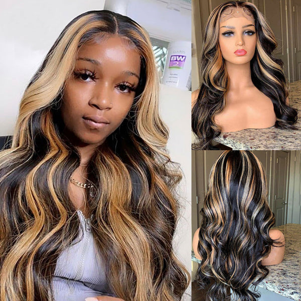 1b/27 Body Wave Lace Front Wig Highlight Human Hair 13x6 HD Transparent Lace